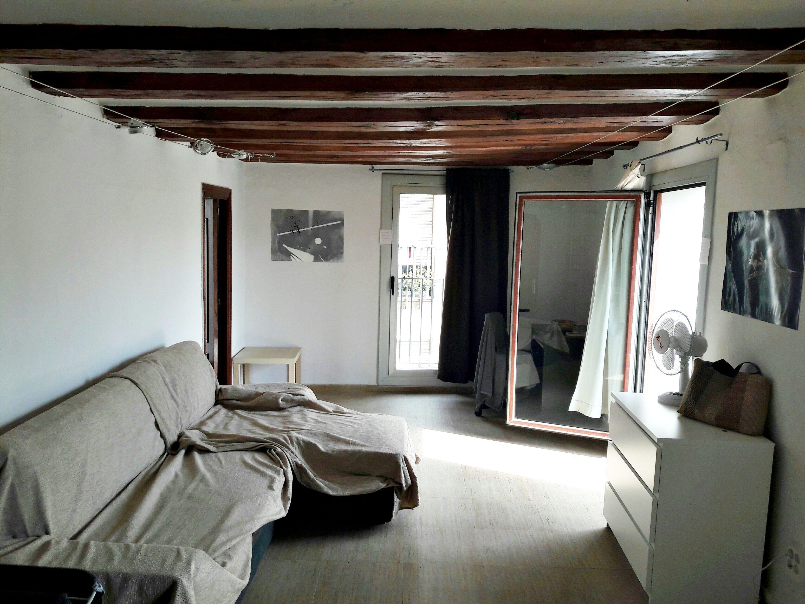 (Español) Piso con amplio Salón y 3 balcones Raval